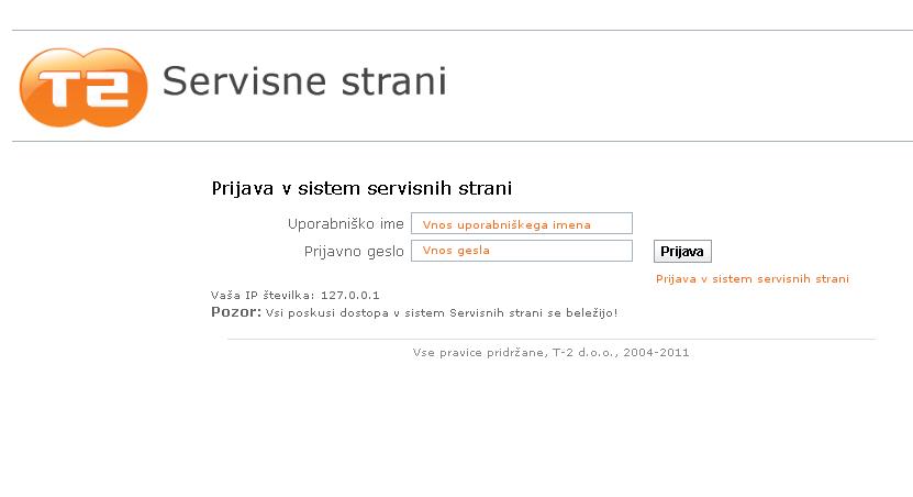 Korak 1 Prijava V Sistem Servisnih Strani T 2 Kliknite Na Sliko Za Poveavo